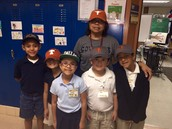 First grade students wearing their hats.