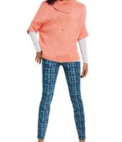 Foldover Pullover, Grid Skinny Jean