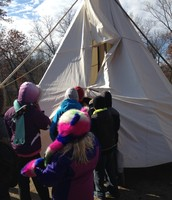 Finally, students got to go into a teepee.