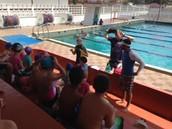 Students prepare for swimming.