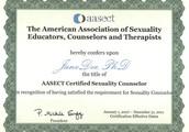 Certification: IFS, EMDR, ASCH, AASECT