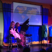 Kerri (and daughters Maddie & Ellie) showed the children how far Zambia is from the United States.
