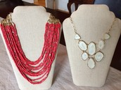 Campari Necklace (red) and Fiona Bib Necklace (white)
