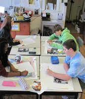 Middle School Artists Working Hard
