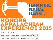 Interested in the Honors Appalachian Experience, but need a little more info? Come out and hear from past participants about HAE and meet the leaders for this year's trip!