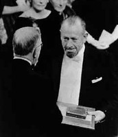 Steinbeck accepting Nobel Prize for fiction