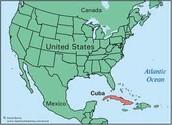 Mapa de Estados Unidos y Cuba.