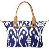 How Does She Do It Bag, blue ikat- original $98, sale $55