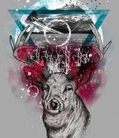 Un ciervo... con un triangulo invertido en la cabeza...