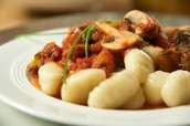 Gnocchi with red sauce