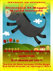 Ore 15;30 spettacolo di magia con il mago Dodo , a seguire ore 16:30 merenda per tutti !!!