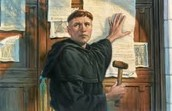 A picture of Martin Luther sticking the 95 Theses to the church door