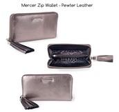 Mercer Zip Wallet in Pewter Leather $60