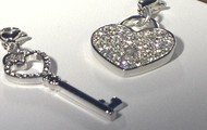 Pave Heart Lock + Key Dangle