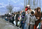Refugees leaving their country
