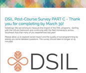 2015 ALUMS - PLEASE Finish Post-Course Survey BY march 30!