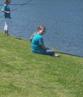 Hannah and Jersee waiting for a fish!