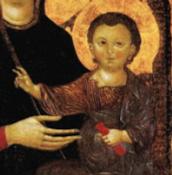 Particolare del Bambino con il rotolo nella mano sinistra.