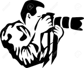 A drawn photo of a person taking a picture