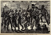 Image of slaves performing congregational dance at a prayer meeting in Georgia.