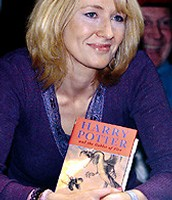 "J.K Rowling with her famous book ""Harry Potter"""