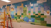 Minecraft Mural taking shape!