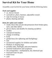 Earthquake supplies kit
