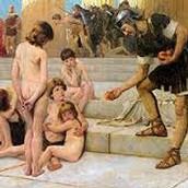 Roman gaurd giving food to slaves
