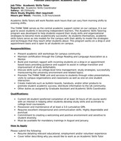 Academic Skills Tutor Job Description