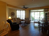 Wood floors in the living areas