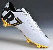 White and black Cr7 cleats