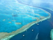 Helicopter ride over the reef