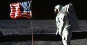 Armstrong Placing the US flag on the Moon