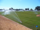 Use used water to water a baseball field
