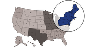 Where The Northeast region is loacded in U.S.A