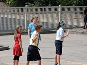 Playing Four Square with Mrs. Phelps