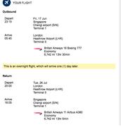 Andrew's flight details