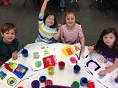 Enjoying kindergarten art