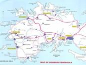 Plain map of peninsulas