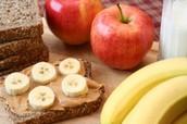 fruit/peanut butter/whole grain bread(fruits & complex carbohydrates)