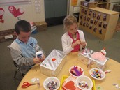 Kindergartners Decorating Valentine's Day Boxes!
