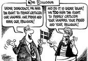 Political Cartoon on Free Speech