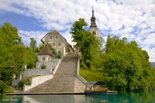This is a close up of the church at Lake Bled