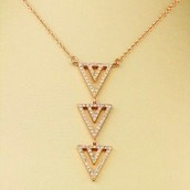 Pave Spear Necklace Rose Gold