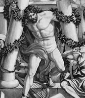 שמשון קורס תחת עמודי המקדש