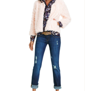Furry Furry, Starry Night Blouse, Destruction Wash Slim Boyfriend Jeans