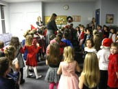 Kindergartners getting ready for their first Holiday Program