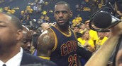 Warriors fan yells vulgar language at LeBron as he walks off court, he reacts