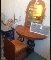 Demi Round Upcycled Vanity Table with Sewing Stool ~ $565