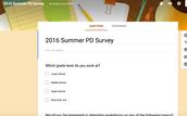 2016 Summer PD Survey